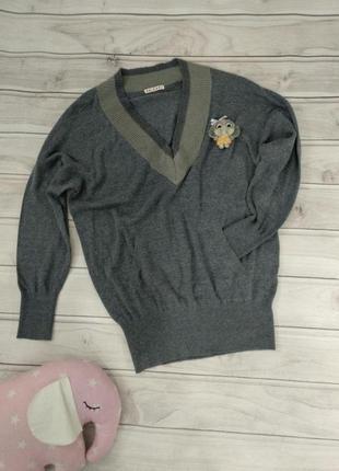Мягкий теплый свитер (в составе шерсть и вискоза), 46 размер, оверсайз