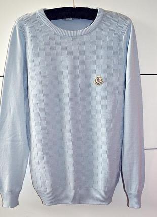 Крутая  из 100% шерсти небесно-голубая кофточка moncler