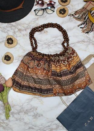 Обнова! сумка этно шоппер мешок пляжная деревянные ручки бусины