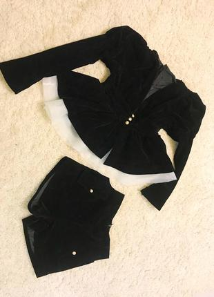 Костюм бархатный бархат с баской шорты стильный нарядный и блуза