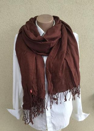 Коричневый,большой шарф,палантин с бахромой,вискоза