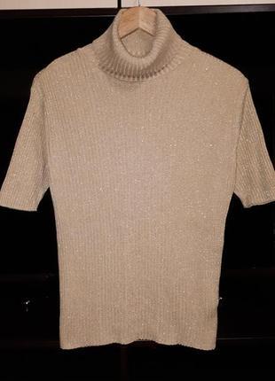 Блестящий свитер,гольф в рубчик раз.xl