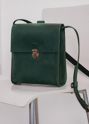 Сумка boybox ручная работа, натуральная кожа, шкіряна сумка зелений колір