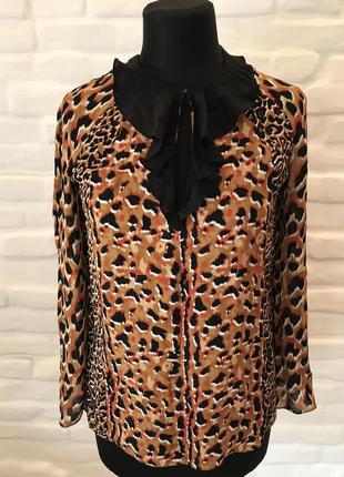 Longchamp  женская блуза 100% шелк леопард р.38!