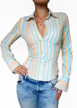 Lois!! фирменная хлопковая рубашка в полоску с запонками