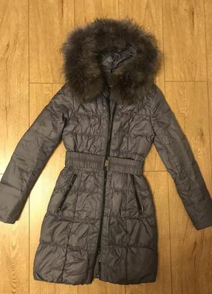 Зимнее пальто с натур мехом