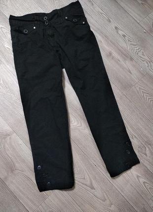 Штаны 3/4, укороченные плотные черные