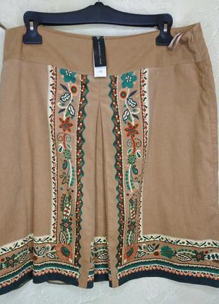 Бирка этно вильветовая коричневая с орнаментом хлопковая юбка florence&fred 3xl 18 батал