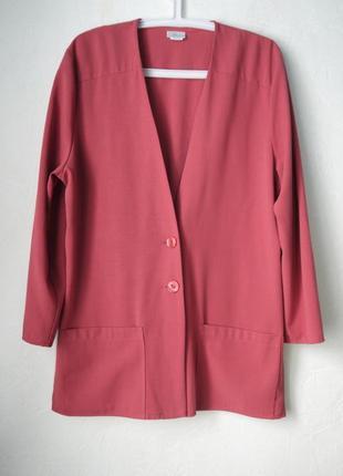 Удлиненный пиджак блейзер прямого кроя