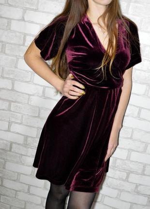 Бархатное платье на запах марсала new look1