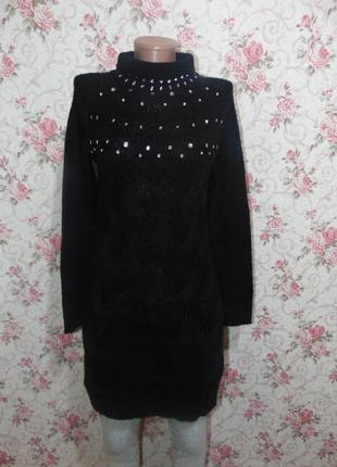 Теплое вязанное платье, туника, со стразами от bodyflirt