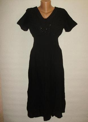 Новое с биркой хлопковое платье с пайетками прошвой и кружевом размера m