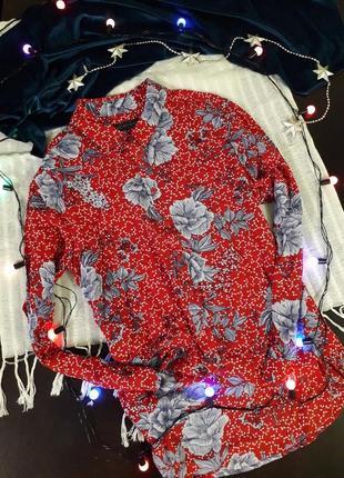Яркая хлопковая рубашка marks&spencer