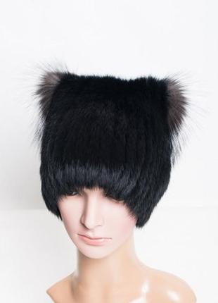 Зимняя шапка из меха кролика с ушками из чернобурки