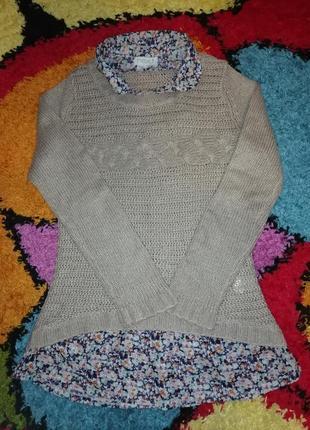 Интересный свитер с блузой