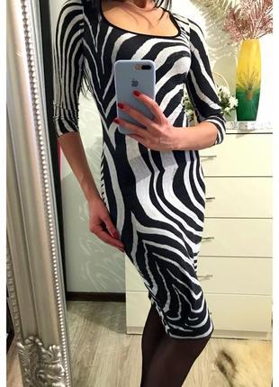 """Платье животный принт """"зебра"""" от roberto cavalli"""