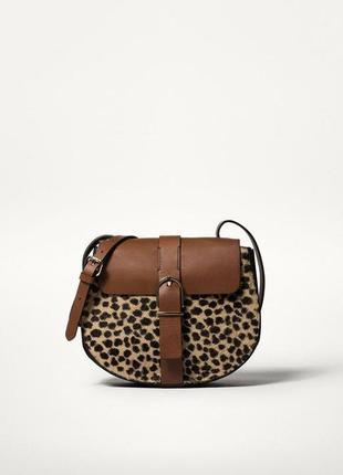Massimo dutti сумка кожа принт шерсть леопарда