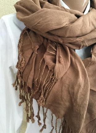 Тонкий,большой,натуральный шарф,палантин с бахромой, италия