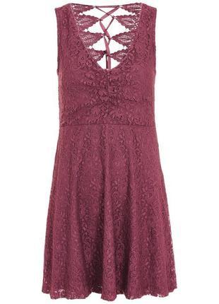Кружевное платье лилового цвета бренда topshop размер 10