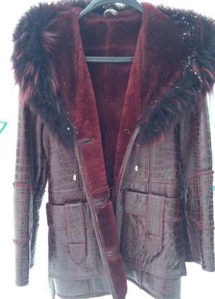 Кожаная дублёнка  натуральная овчина куртка с натуральным песцовым воротником