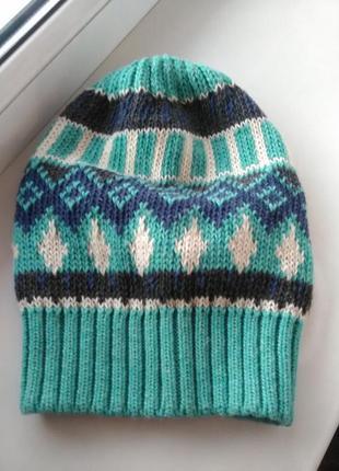 Красивая вязаная шапочка/тыковка  fonem шерсть (акция 1+1=3)