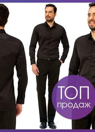 Мужская рубашка черная lc waikiki / лс вайкики на черных пуговицах