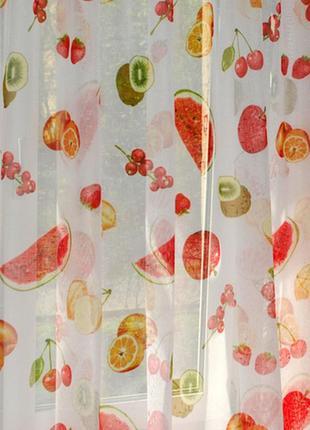 Качественная тюль батист фруктовый сад
