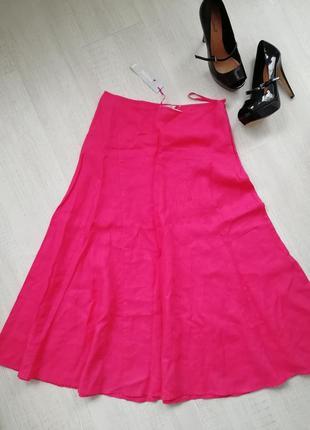 💞идеальная расклешенная юбка миди кораллового оттенка 💞льняная юбка красного цвета