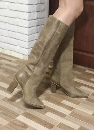 H&m studio высокие сапоги на широком каблуке , натуральная кожа