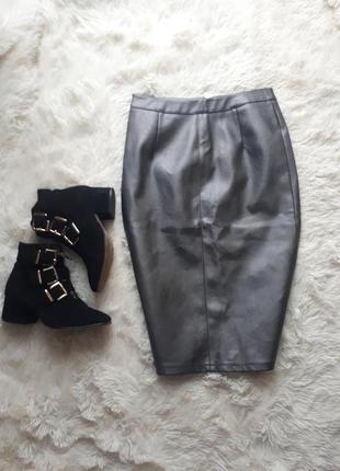 Крутая темно серая юбка кожзам