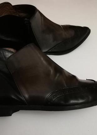Кожанные ботиночки lavorazione artigianale,made in italy, размер 40