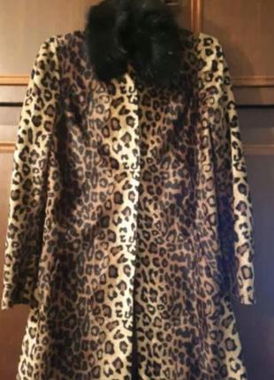 Леопардовое пальто с воротником