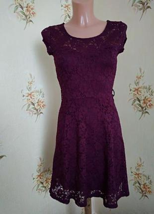 Гипюровое платье цвета марсала#бордо#6 рр  new look