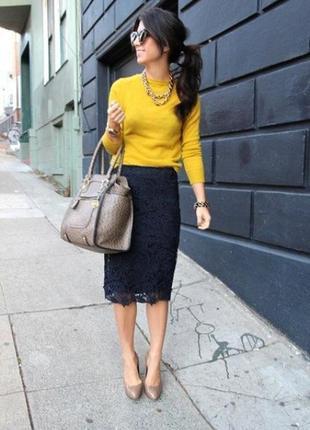Шикарная кружевная юбка карандаш миди papaya размер 12, можно 14