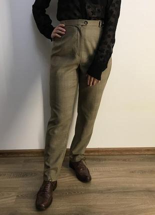 Шерстяные брюки в клетку на высокой посадке marc aurel
