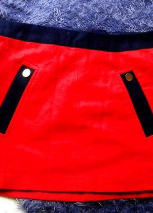 Яркая стильная рыжая  юбка мини шерсть,м- l.