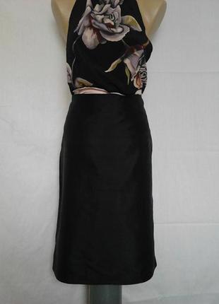 Шикарная прямая юбка,100%шелк h&m