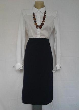 Стильная темно синяя прямая юбка, шерсть bianca