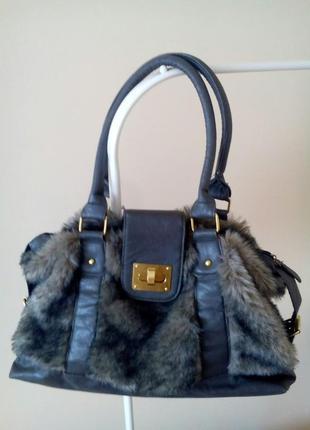 Модная сумка женская с искусственным мехом