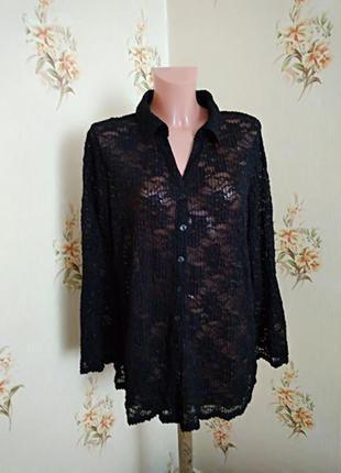 Черная гипюровая кружевная рубашка большого размера  essence