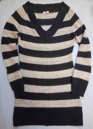 Удлиненный уютный свитер с мохером xs-s-м