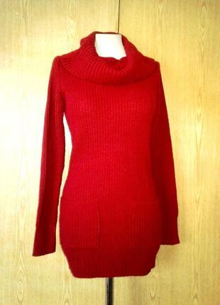 Красное платье -туника с хомутом, м.