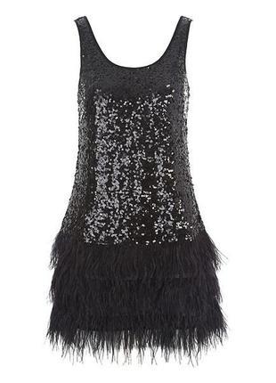 Изумительое вечернее платье пайетки перья jane norman