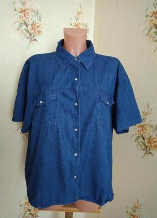 Джинсовая рубашка с коротким рукавом на кнопках большого размера#22 рр#originals
