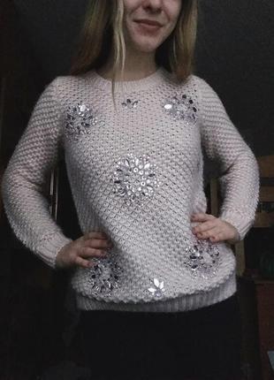 Шикарный мягкий свитер с камнями