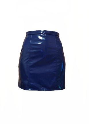 Модная лакированная виниловая юбка трапеция river island размер 6-8