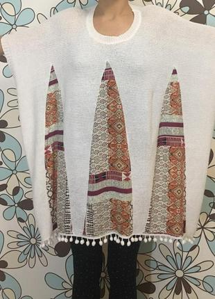 Пончо балеро кофта платье туника женский tu летний вязаный