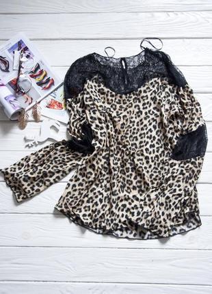 Блуза с кружевными вставками от zara basik  анималистический принт