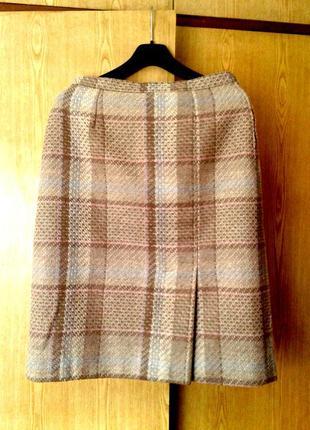 Шерстяная бежевая юбка в клетку со складками, 2xl.
