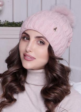 Sale!!! красивая зимняя шапка с меховым помпоном на флисе